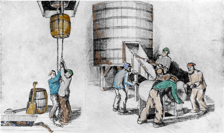 Det var tungt arbeid på brenneriet. Tegning fra jubileumsboka i 1946.