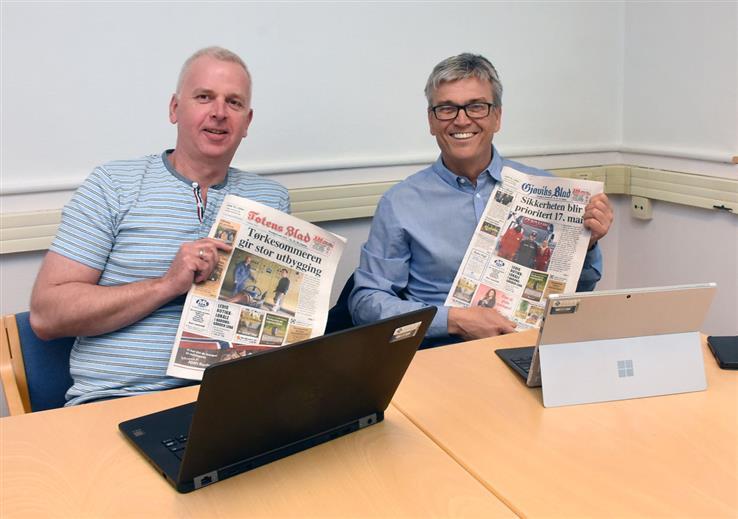 Daglig leder Morten Linnerud og konsernsjef Hans Jørgen Øveraasen gleder seg over at Totens Blad og Gjøviks Blad har fått støtte til utviklingsarbeid.