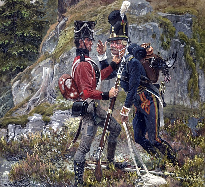 Norsk og svensk soldat under Syvårskrigen, 1807-1814. Ole Pedersen Hanevold fra Kolbu deltok i denne krigen.