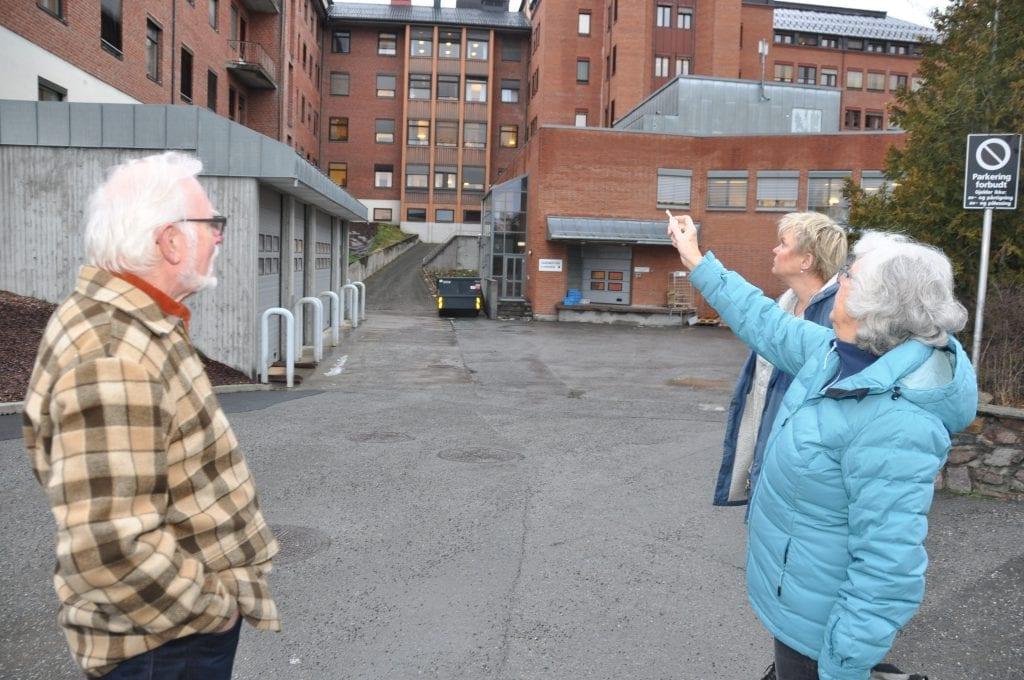 Støyen må da plage pasientene med rom i nærheten av vareleveringen? mener de tre naboene.